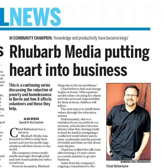 Rhubarb Media putting heart into business  – Alan Atkins, Special to the Examiner