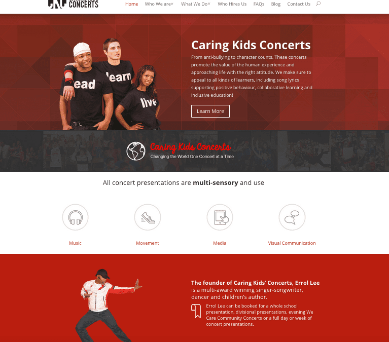 Caring Kids Concerts New Website by Rhubarb Media